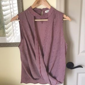 Burgundy and White Striped Blouse With Wrap Front
